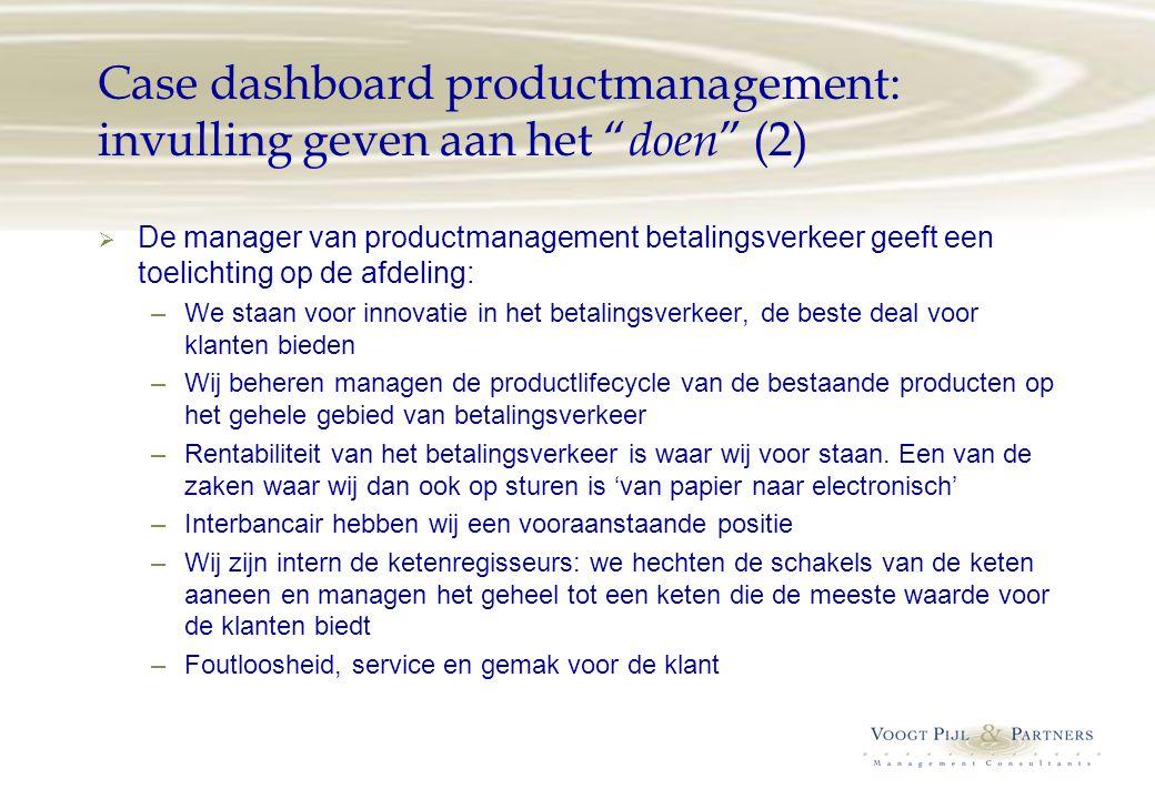 Case dashboard productmanagement: invulling geven aan het doen (2)