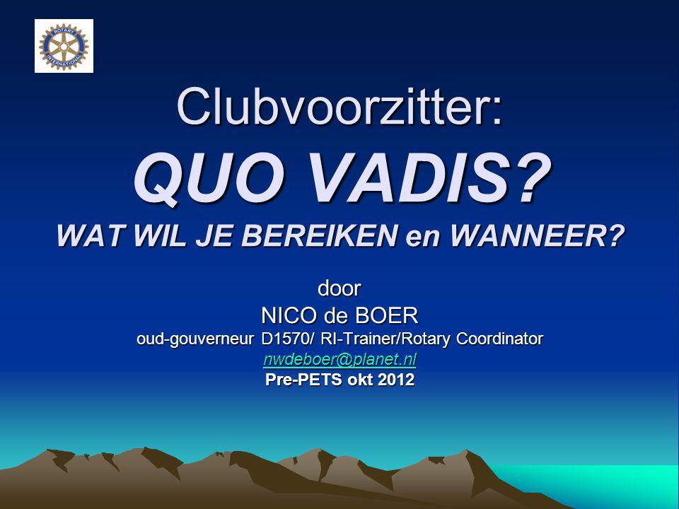 Clubvoorzitter: QUO VADIS WAT WIL JE BEREIKEN en WANNEER