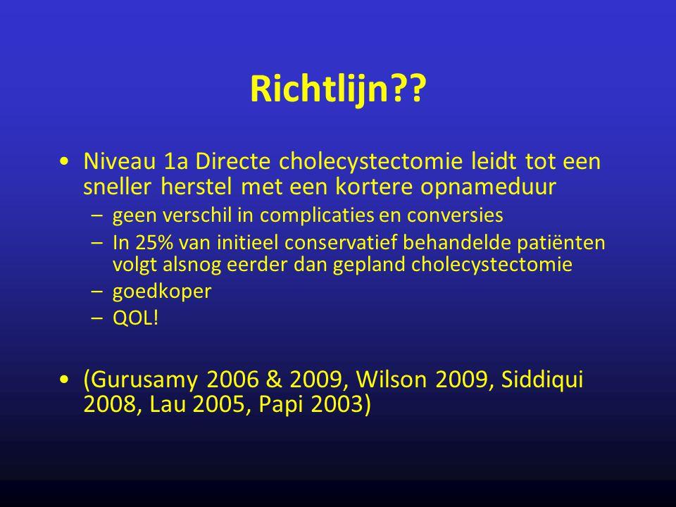 Richtlijn Niveau 1a Directe cholecystectomie leidt tot een sneller herstel met een kortere opnameduur.