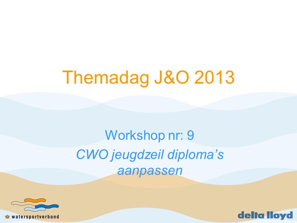 Workshop nr: 9 CWO jeugdzeil diploma's aanpassen
