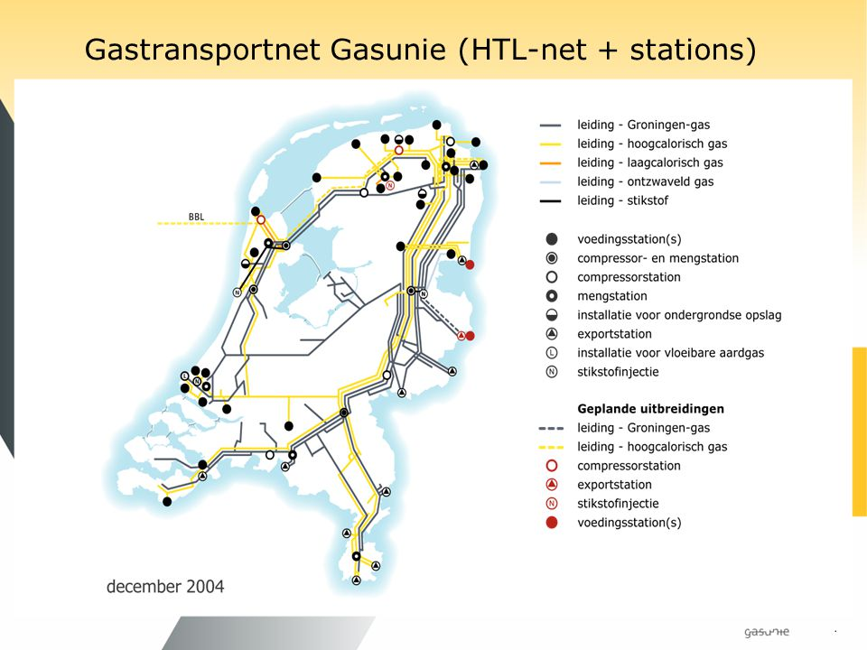 Gastransportnet Gasunie (HTL-net + stations)