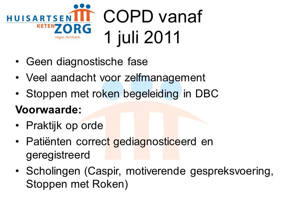 COPD vanaf 1 juli 2011 Geen diagnostische fase