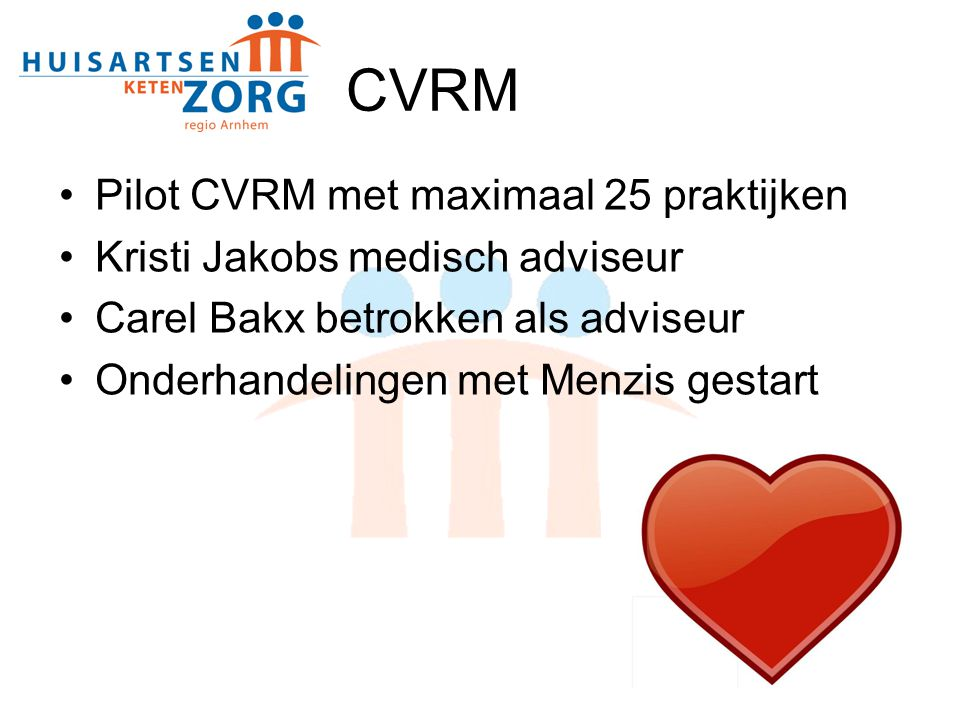 CVRM Pilot CVRM met maximaal 25 praktijken