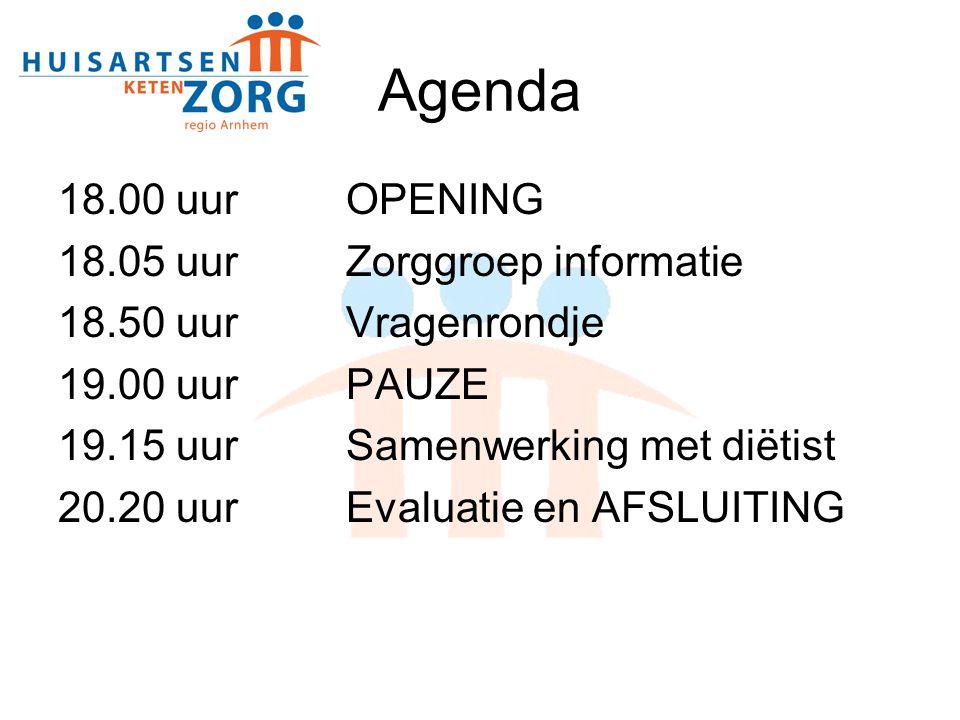 Agenda 18.00 uur OPENING 18.05 uur Zorggroep informatie
