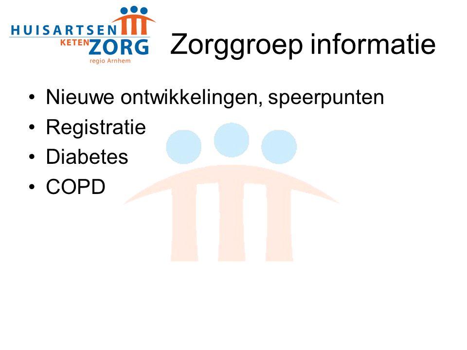 Zorggroep informatie Nieuwe ontwikkelingen, speerpunten Registratie