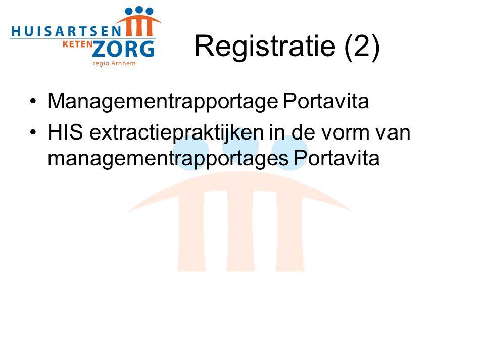 Registratie (2) Managementrapportage Portavita