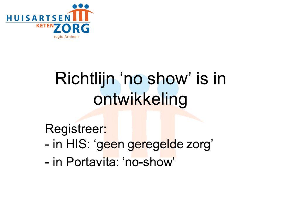 Richtlijn 'no show' is in ontwikkeling