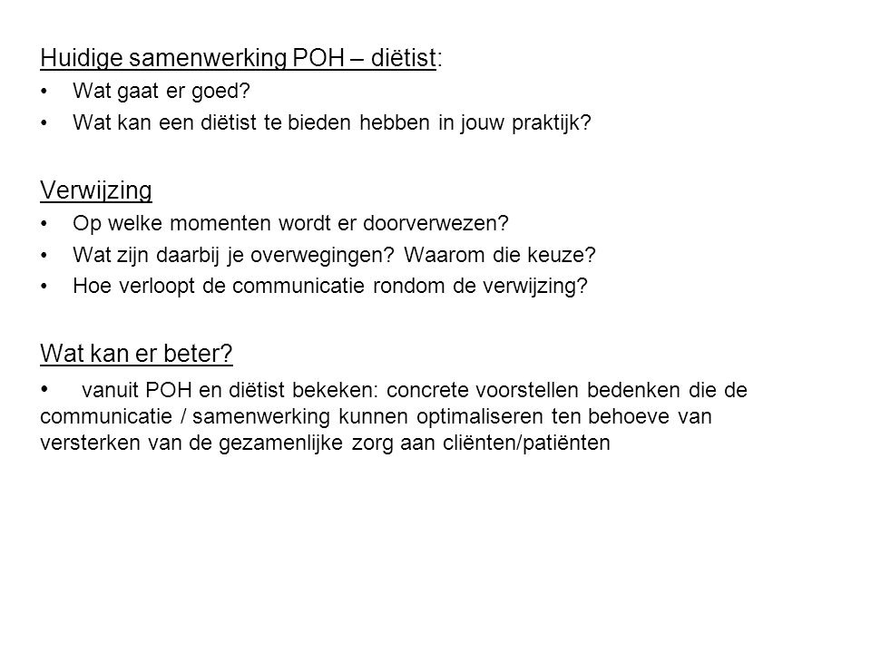 Huidige samenwerking POH – diëtist: