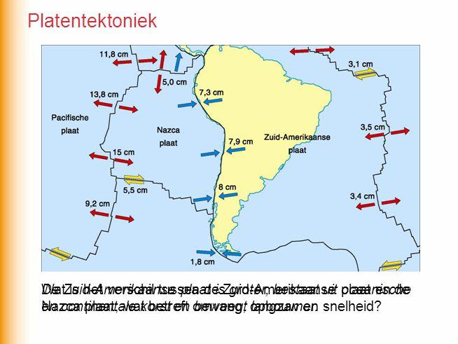 Platentektoniek De Zuid-Amerikaanse plaat is groter, bestaat uit oceanische. en continentale korst en beweegt langzamer.