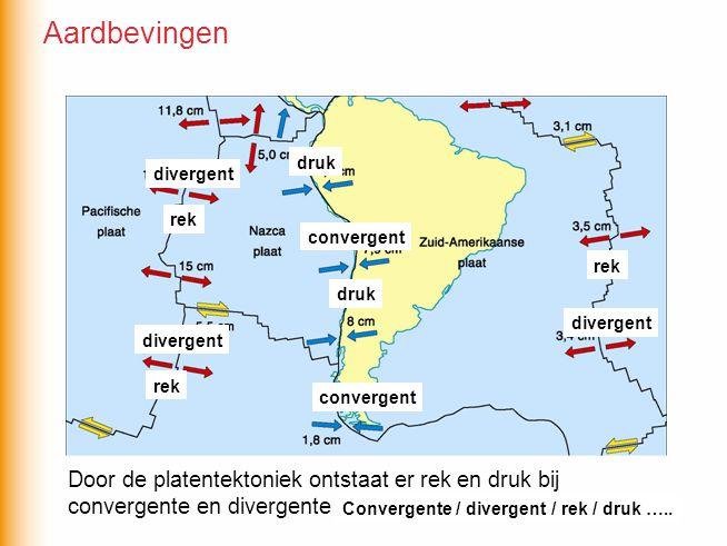 Aardbevingen druk. divergent. rek. convergent. rek. druk. divergent. divergent. rek. convergent.