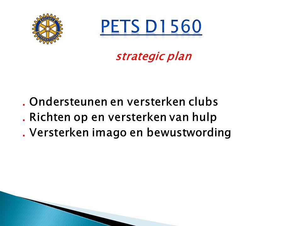 PETS D1560 strategic plan . Ondersteunen en versterken clubs .
