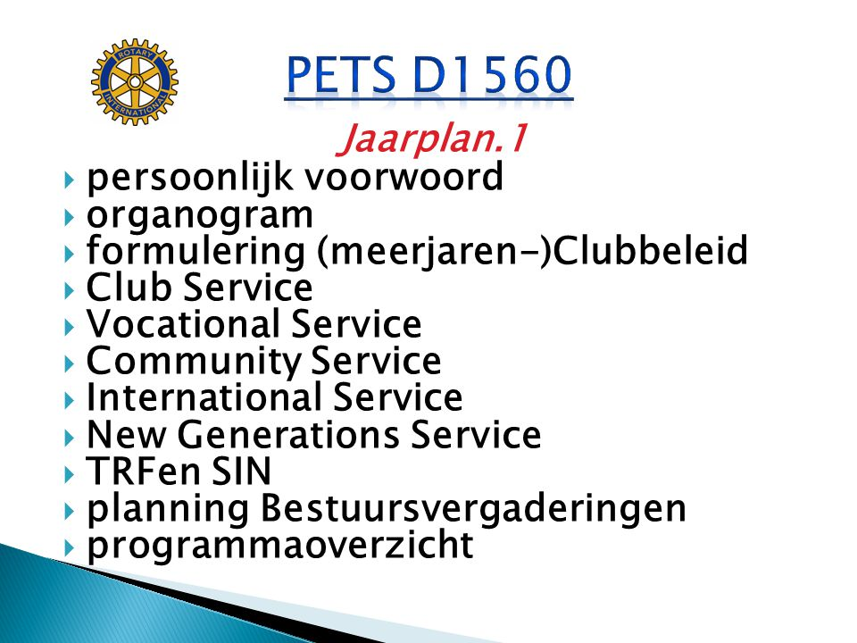 PETS D1560 Jaarplan.1 persoonlijk voorwoord organogram