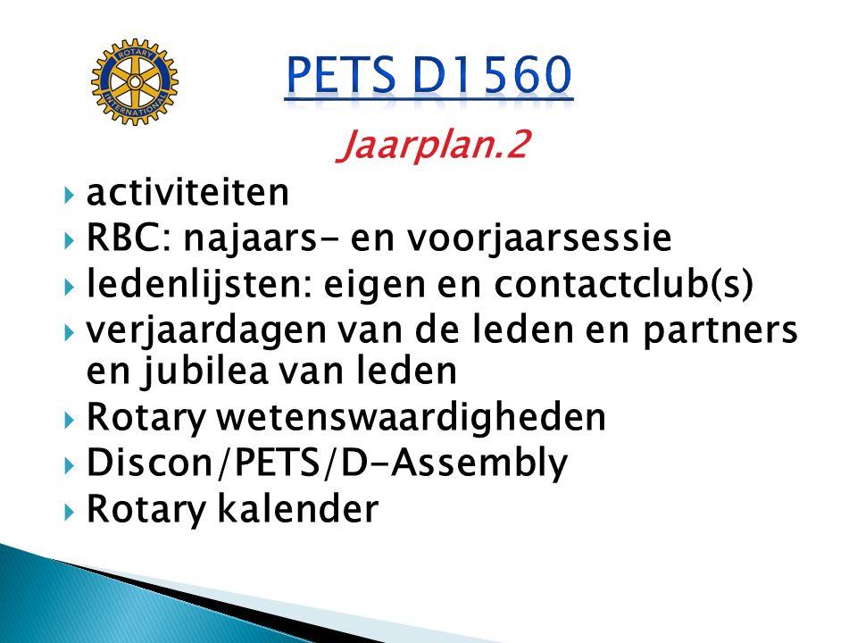 PETS D1560 Jaarplan.2 activiteiten RBC: najaars- en voorjaarsessie