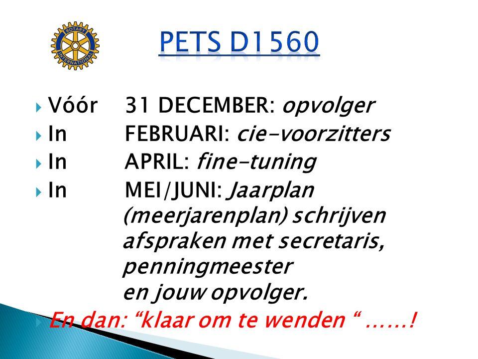 PETS D1560 Vóór 31 DECEMBER: opvolger In FEBRUARI: cie-voorzitters