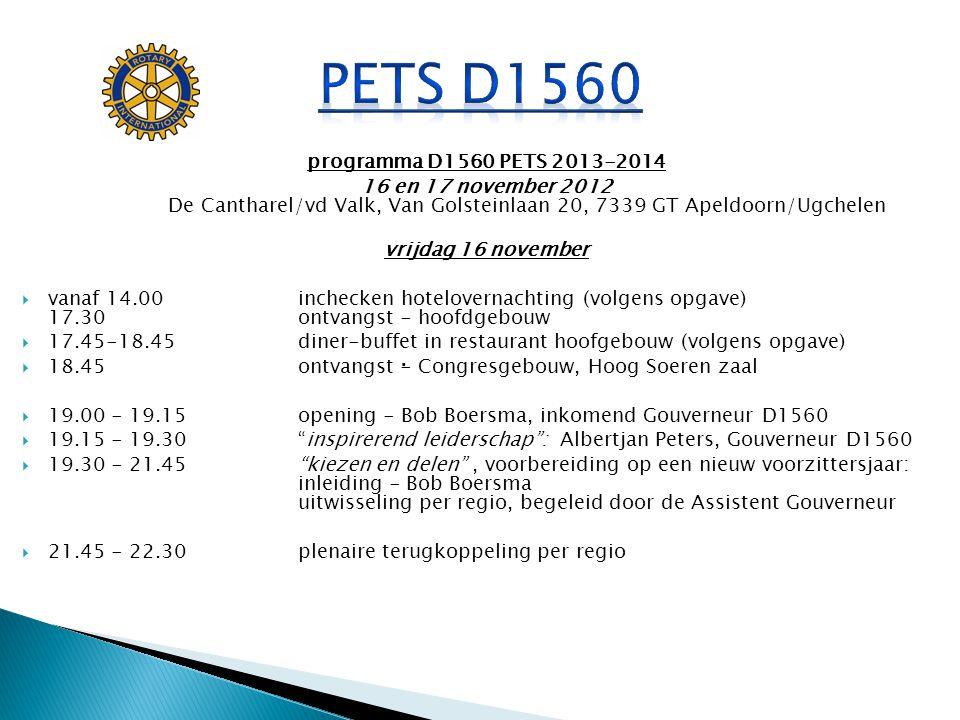 PETS D1560 . programma D1560 PETS 2013-2014