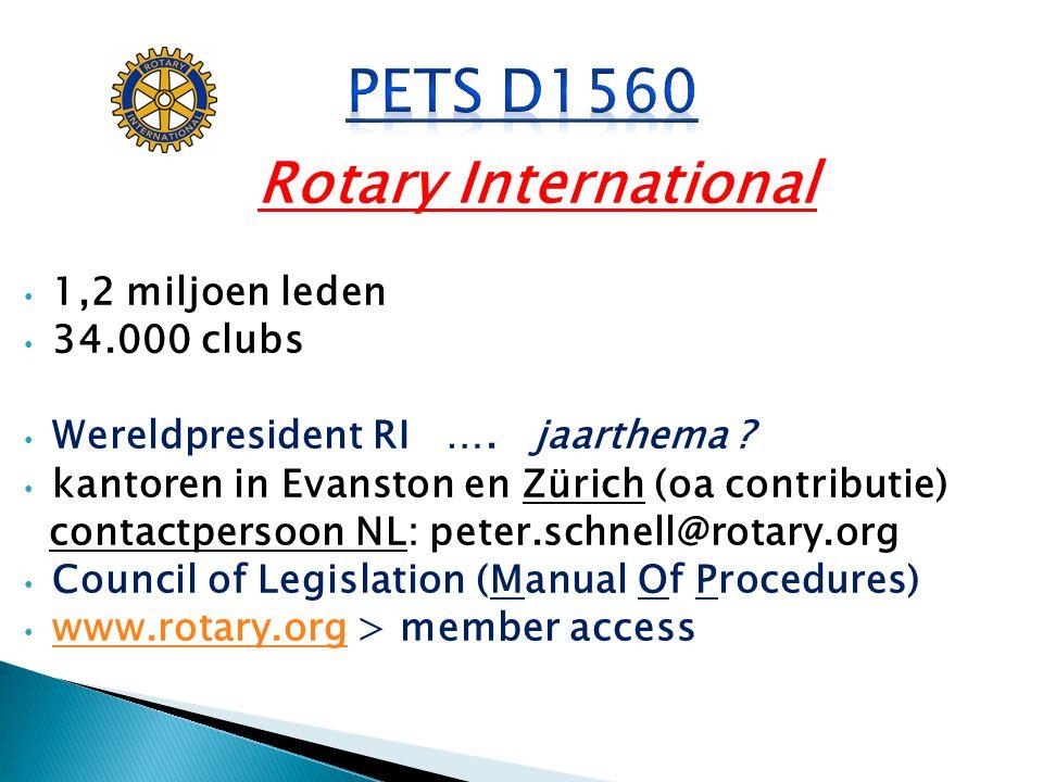 PETS D1560 Rotary International 1,2 miljoen leden 34.000 clubs