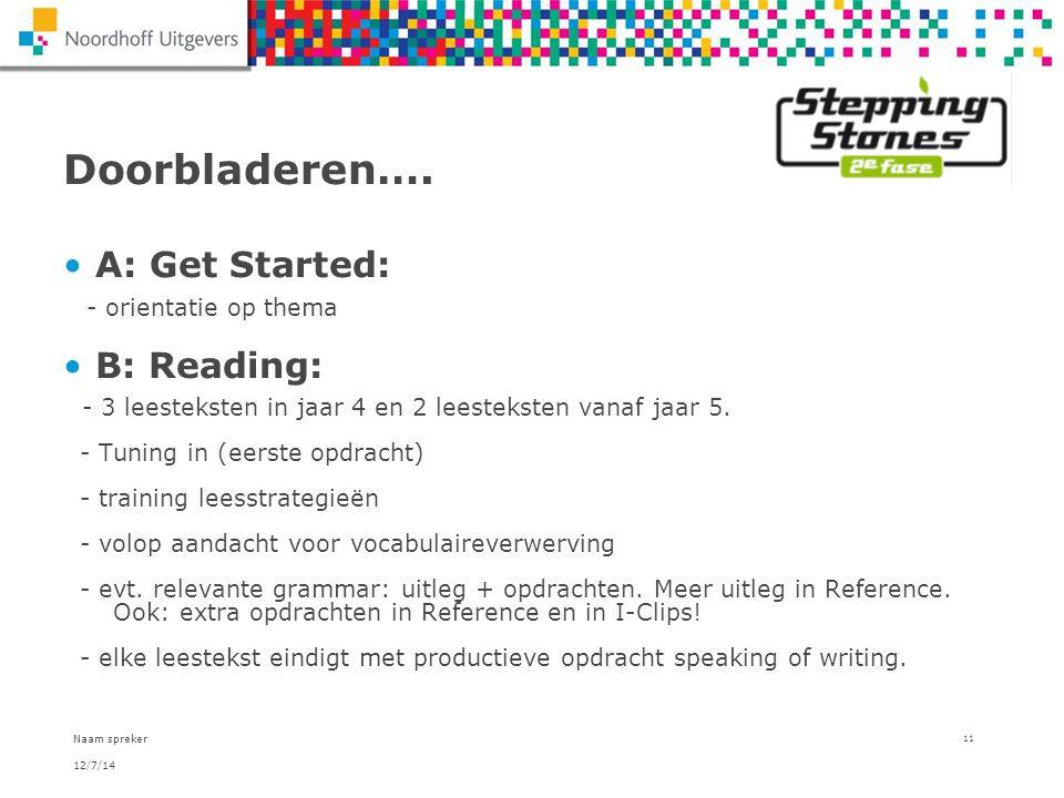 Doorbladeren…. A: Get Started: - orientatie op thema