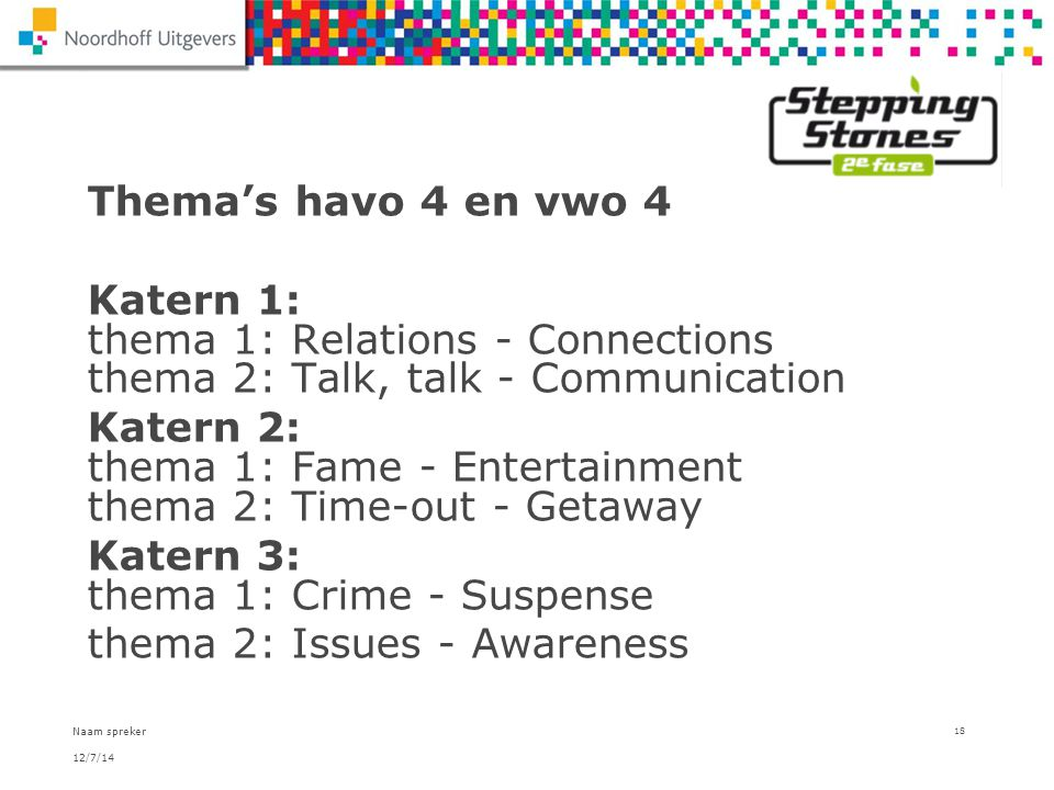 Katern 2: thema 1: Fame - Entertainment thema 2: Time-out - Getaway