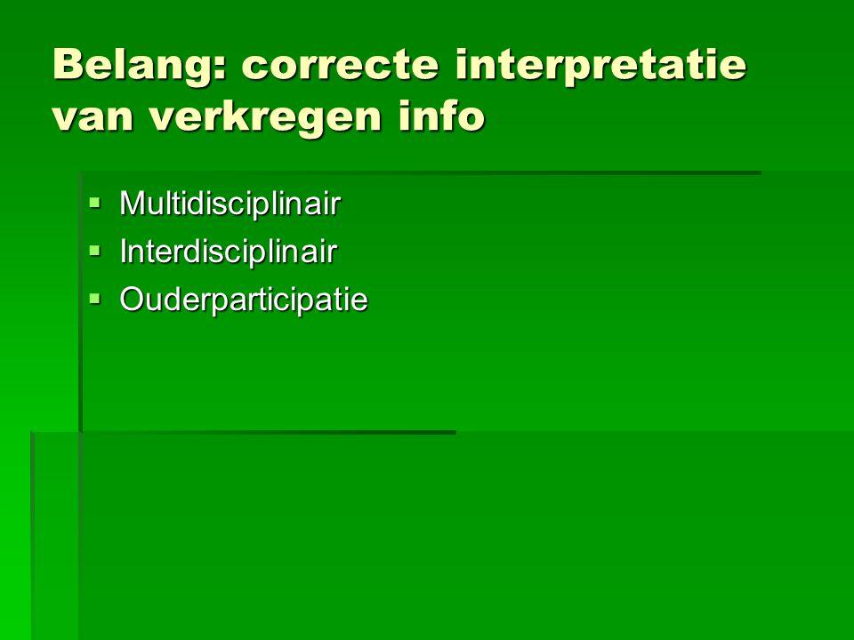 Belang: correcte interpretatie van verkregen info