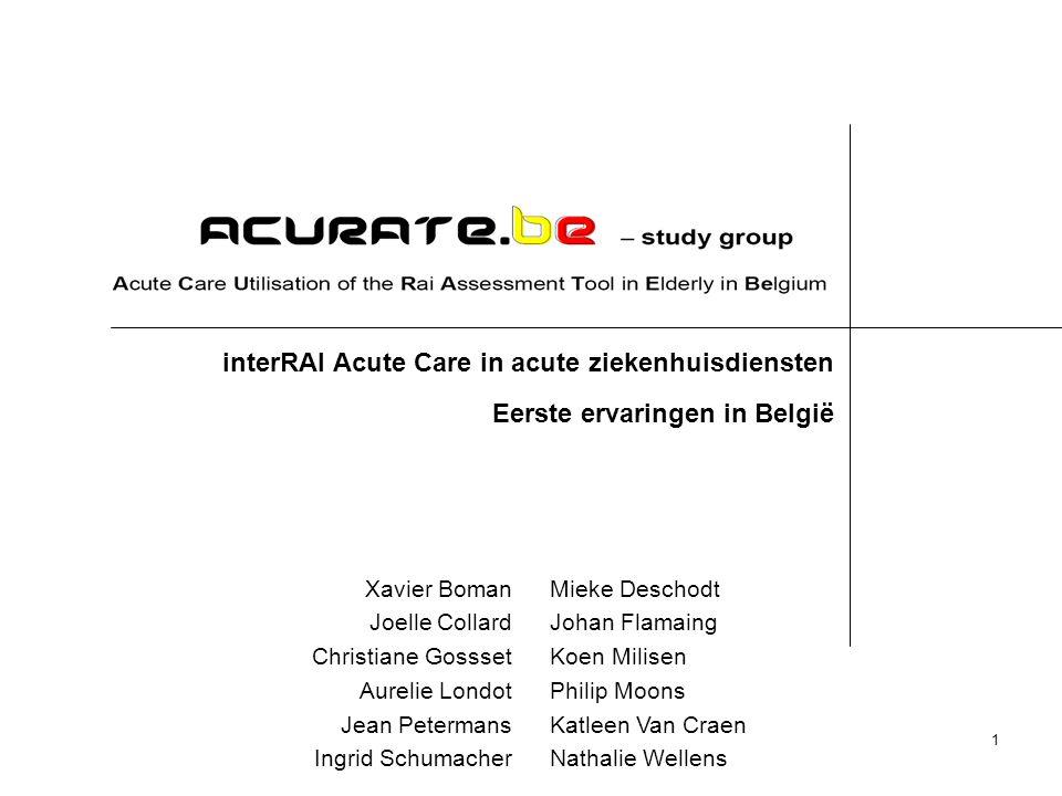 interRAI Acute Care in acute ziekenhuisdiensten Eerste ervaringen in België