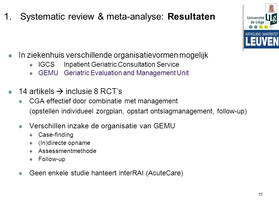 Systematic review & meta-analyse: Resultaten