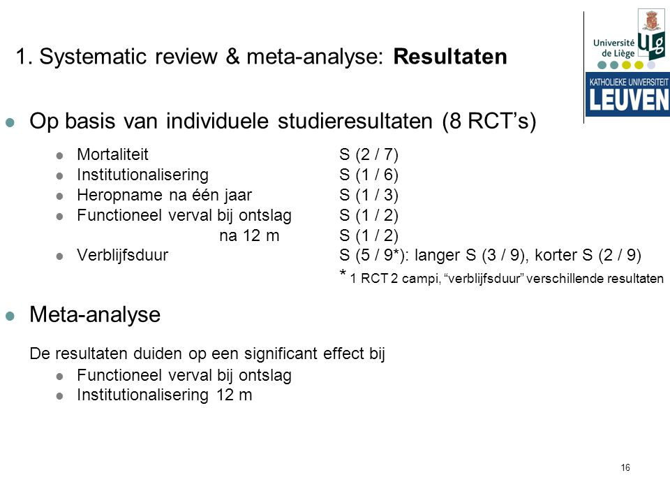 1. Systematic review & meta-analyse: Resultaten