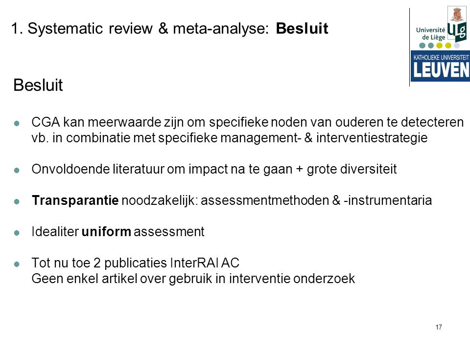 Besluit 1. Systematic review & meta-analyse: Besluit