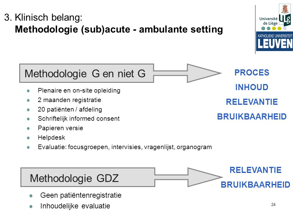 3. Klinisch belang: Methodologie (sub)acute - ambulante setting
