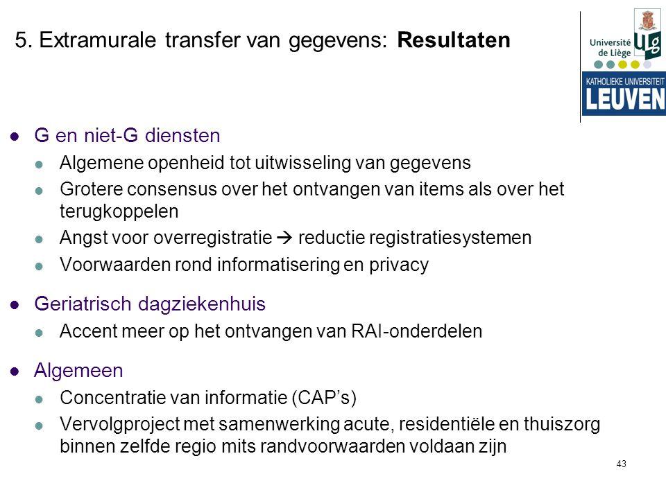 5. Extramurale transfer van gegevens: Resultaten