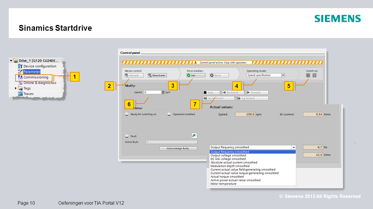 Sinamics Startdrive 1. 2. 3. 4. 5. 6. 7. Aansturen van Sinamics G120 via Control Panel.