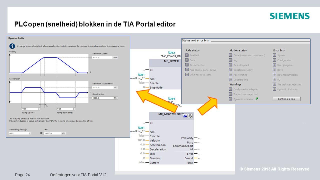PLCopen (snelheid) blokken in de TIA Portal editor
