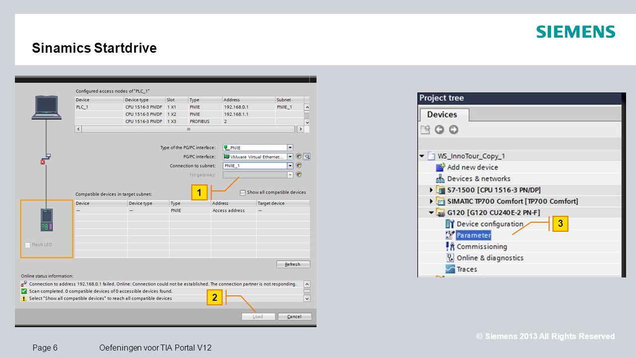 Sinamics Startdrive 1. Laad de hardware configuratie en selecteer de Sinamics G120 voor inbedrijfname.