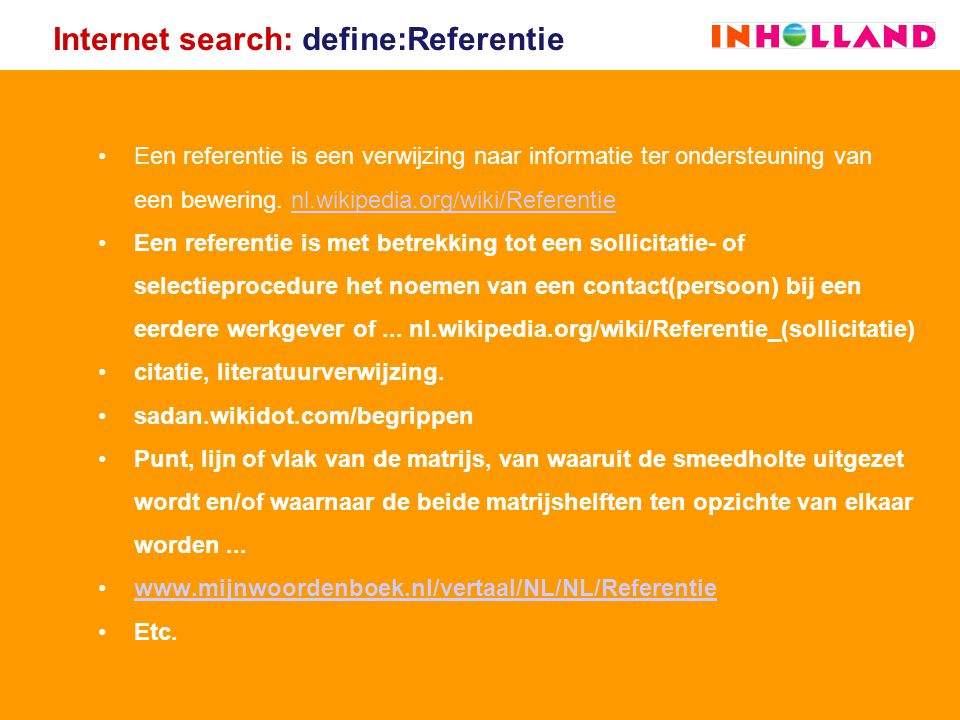 Internet search: define:Referentie