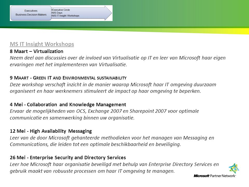 MS IT Insight Workshops