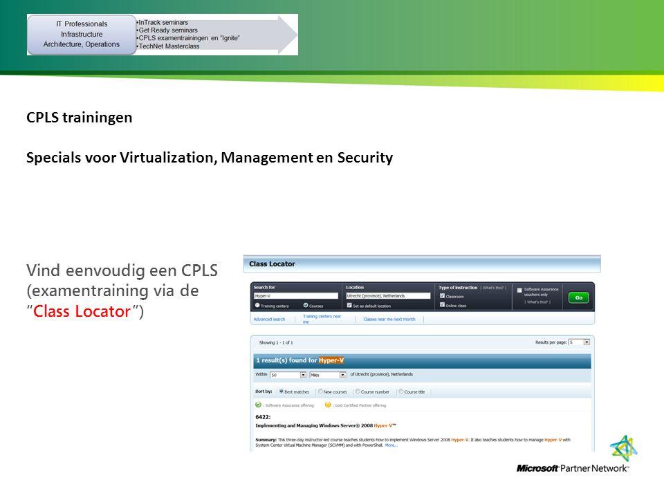 CPLS trainingen Specials voor Virtualization, Management en Security.