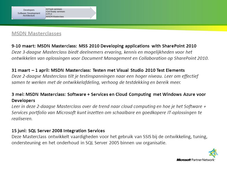 MSDN Masterclasses 9-10 maart: MSDN Masterclass: MSS 2010 Developing applications with SharePoint 2010.