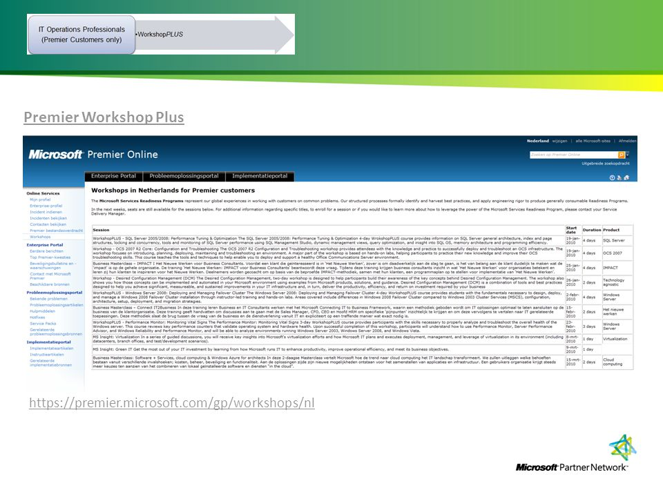 Premier Workshop Plus https://premier.microsoft.com/gp/workshops/nl