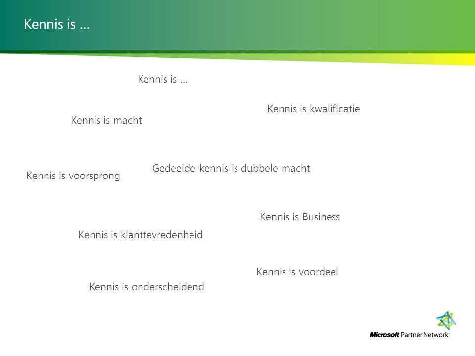 Kennis is … Kennis is … Kennis is kwalificatie Kennis is macht
