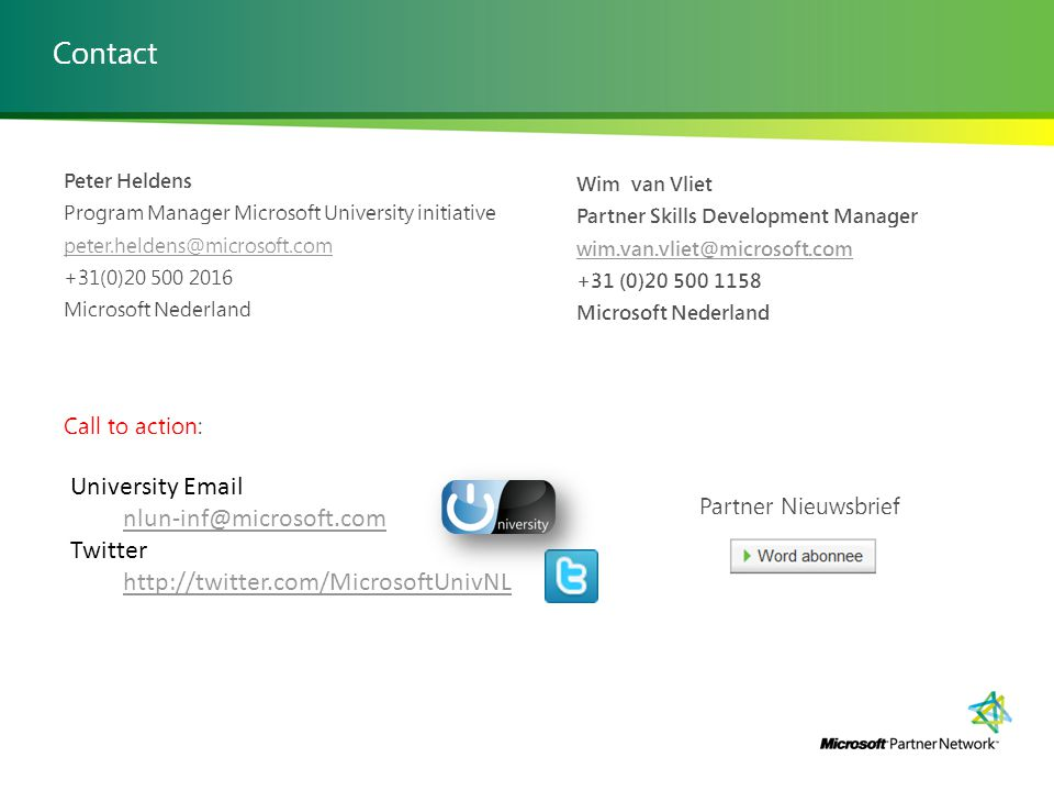 Contact University Email nlun-inf@microsoft.com Twitter