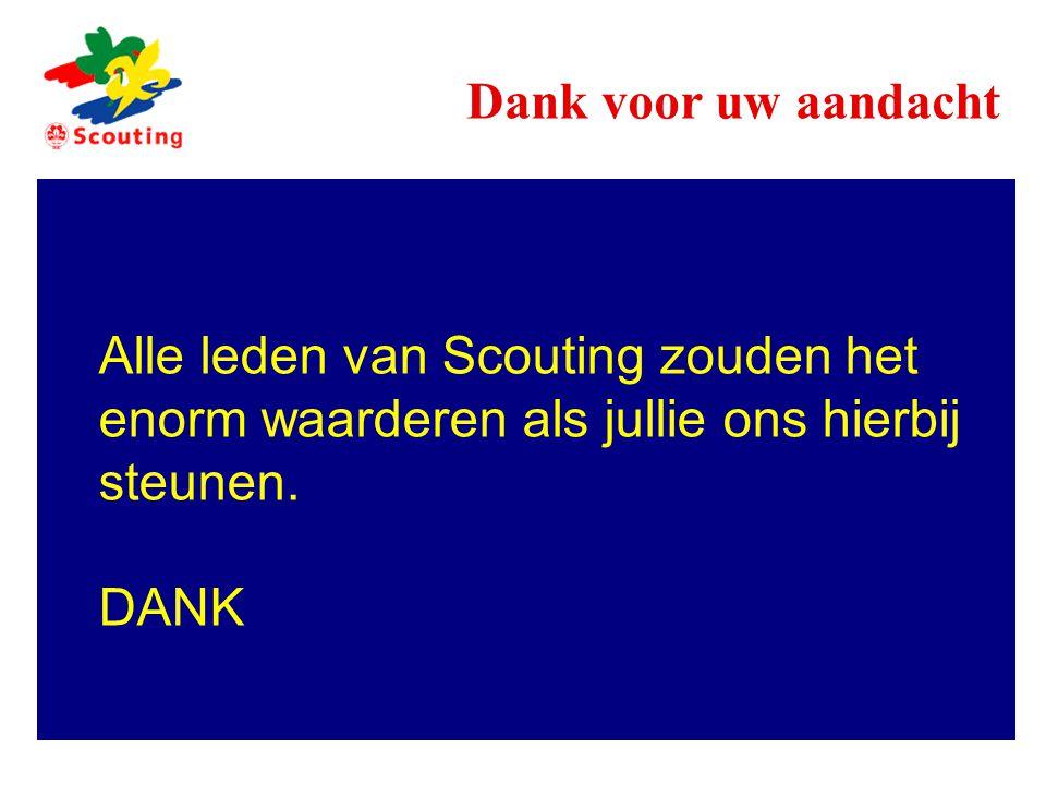 Dank voor uw aandacht Alle leden van Scouting zouden het enorm waarderen als jullie ons hierbij steunen.