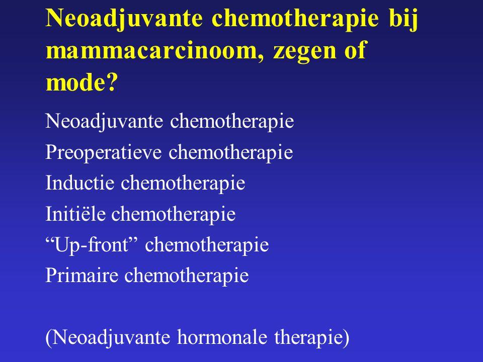 Neoadjuvante chemotherapie bij mammacarcinoom, zegen of mode