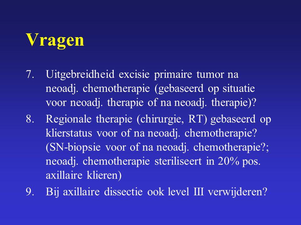 Vragen 7. Uitgebreidheid excisie primaire tumor na neoadj. chemotherapie (gebaseerd op situatie voor neoadj. therapie of na neoadj. therapie)