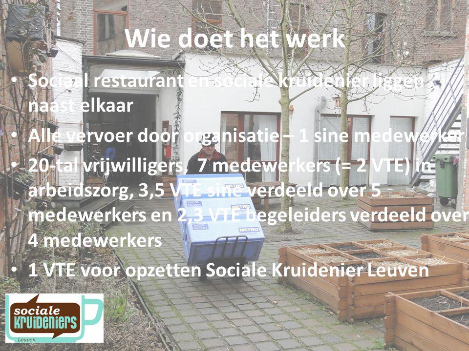 Wie doet het werk Sociaal restaurant en sociale kruidenier liggen naast elkaar. Alle vervoer door organisatie – 1 sine medewerker.