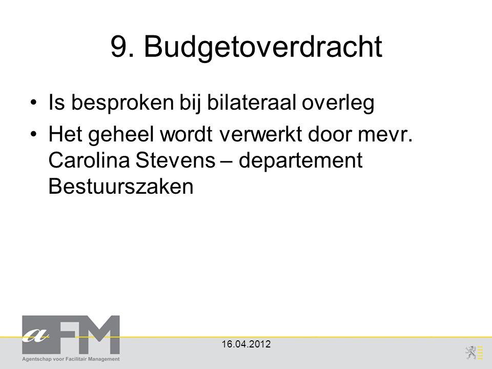 9. Budgetoverdracht Is besproken bij bilateraal overleg
