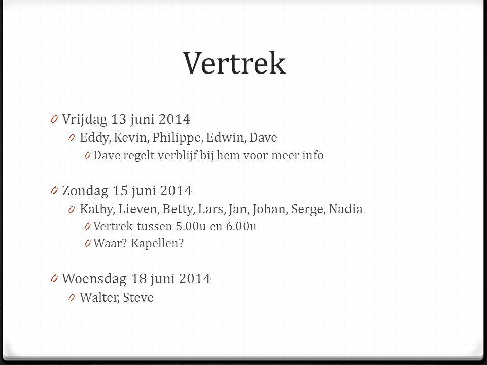 Vertrek Vrijdag 13 juni 2014 Zondag 15 juni 2014 Woensdag 18 juni 2014