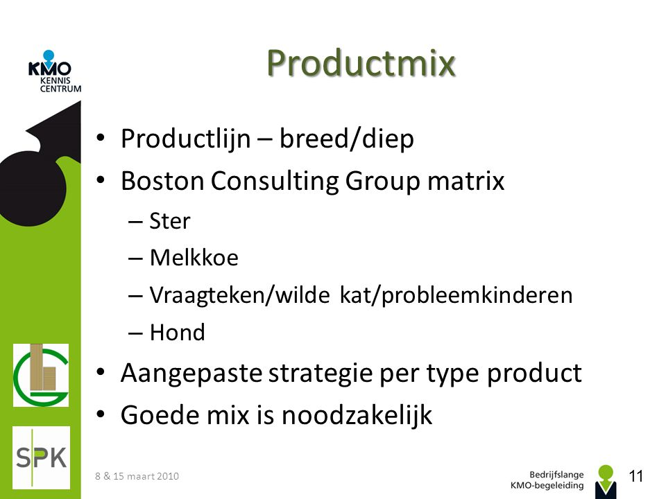 Productmix Productlijn – breed/diep Boston Consulting Group matrix