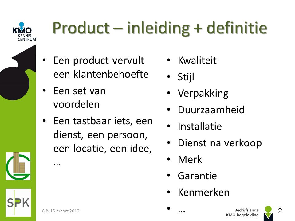 Product – inleiding + definitie