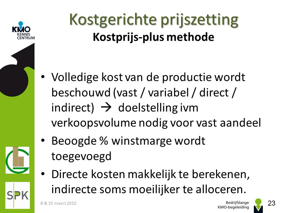 Kostgerichte prijszetting Kostprijs-plus methode