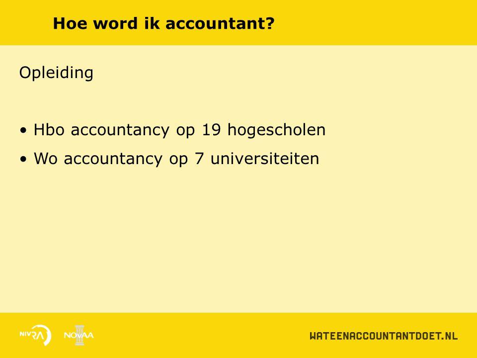 Hoe word ik accountant. Opleiding. Hbo accountancy op 19 hogescholen.