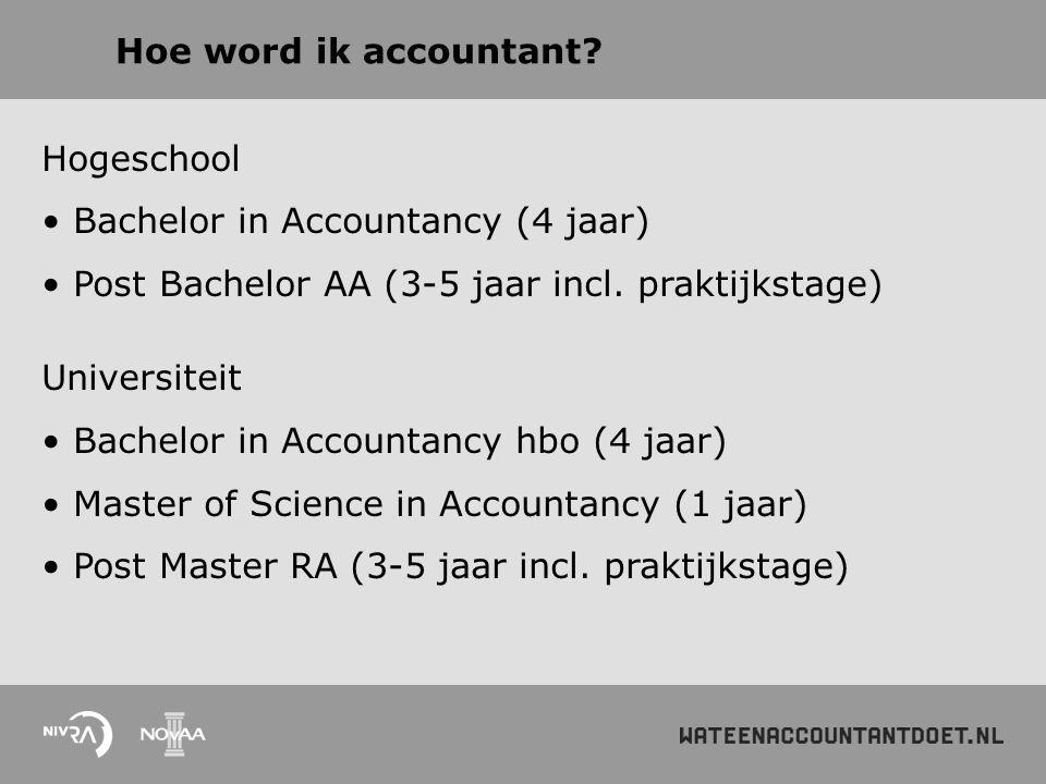 Hoe word ik accountant Hogeschool. Bachelor in Accountancy (4 jaar) Post Bachelor AA (3-5 jaar incl. praktijkstage)